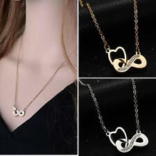 Women Stainless Steel Infinity Symbol Number 8 Pendant Necklace Jewelry Silver