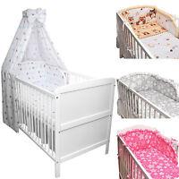 Babybett Kinderbett Juniorbett weiß 140x70 Bettwäsche Bettset komplett 22tlg.Neu