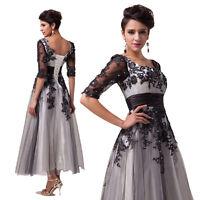 Ladies Lace Half Sleeve Wedding Prom  Evening Party Long Dress UK PLUS Size 6-20