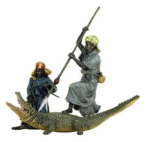Hand-painted-Vienna-Bronze-Arabian-Crocodile-Hunters-Sculpture-Bergmann