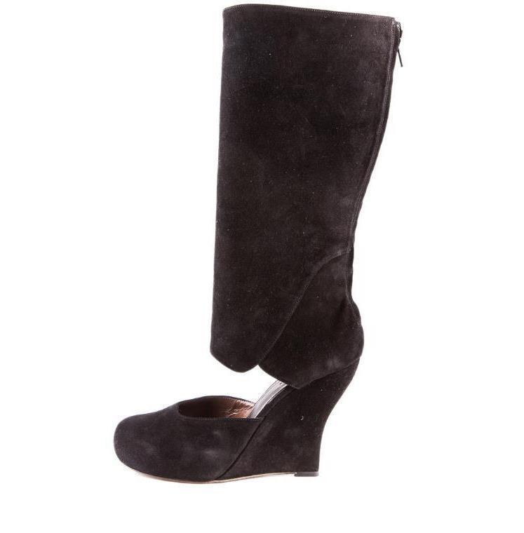 MARNI Womens Black Suede Cutout Knee-High High-Heel Wedge Zip Boots 10-40