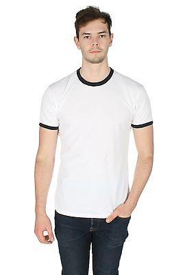 Mens Plain Ringer Tee T-shirt Top Grunge American Retro Geek Hipster Contrast