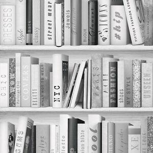 Papier Peint Livres Bibliotheque papier peint muriva - mode bibliothèque Étagère livres - - argent