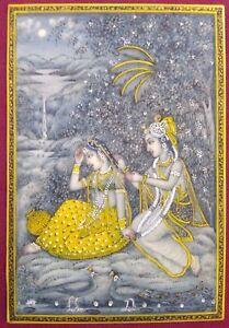 Hand-Painted-Indian-Krishna-Radha-Gold-Miniature-Painting-Art-Work-Fine-Home-Art
