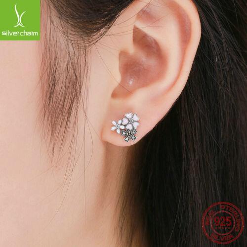 DAISY /& cerise NOUVEAU 925 Sterling Argent Boucles d/'oreille rose en émail avec cz bijoux
