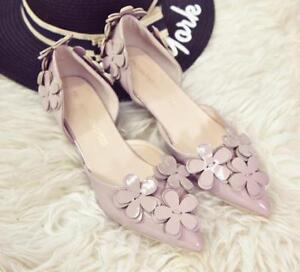 Sweet-Women-039-s-Flower-Pumps-Pointed-Toes-Low-Heels-Fashion-Loafers-Slip-On-Shoes