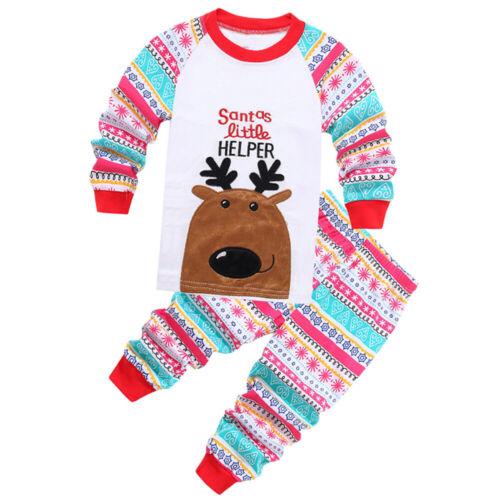 Kids Baby Christmas Xmas 2pcs Pajamas Sets Boys Girls T Shirt+Pants Casual Suit