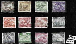 #7283    Complete MNH stamp set / 1943 Hero's day / Third Reich / WWII Germany