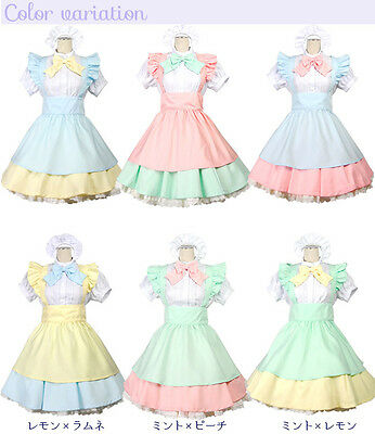 Bright Japanese School Girl Maid Anime Lolita Cosplay Halloween Costume S M L