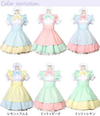 Bright Japanese School Girl Maid Anime Lolita Cosplay Halloween Costume S M L