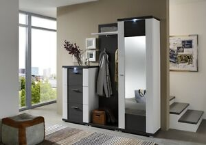 ideal m bel garderobe flurgarderobe schrank graphit geschroppt wei hochglanz ebay. Black Bedroom Furniture Sets. Home Design Ideas