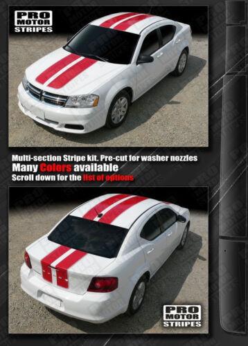 Dodge Avenger 2008-2014 Double Stripes Hood Roof Trunk Decals Choose Color