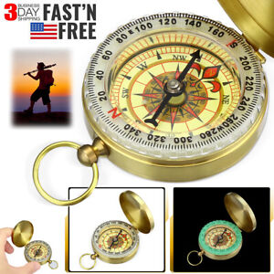 Brass Pocket Watch Style Military Army Compass Outdoor Camping Hiking Keychain
