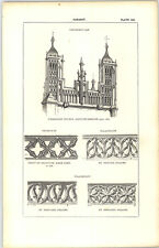1850 Engraving Parapet Thornbury Church Gloucs Decorated Flamboyant Falaise