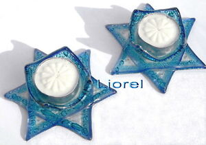 Star of David Blue Glass Shabbat Tealight Candle Holders Sticks Shabbos Kiddush