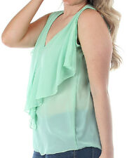 Size 2X TANK TOP SHIRT Mint Green WOMENS PLUS Ruffle Front LYSS LOO 2XL New