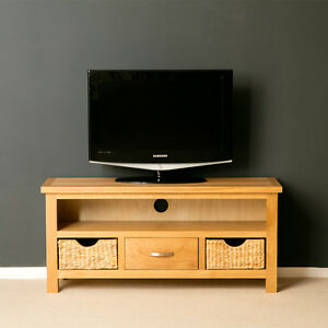 London Oak Tv Unit With Storage Baskets Large Oak Tv Stand Solid