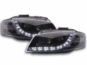 Scheinwerfer-Set-Daylight-LED-TFL-Optik-Audi-A3-Typ-8P-Bj-03-07-schwarz