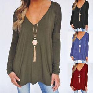 Fashion-Women-Ladies-V-Neck-Loose-Casual-Long-Sleeve-T-Shirt-Blouse-Tops-T-Shirt