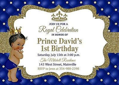 Prince First Birthday Invitation King Royal One Year Boy Baby Blue Gold Ebay