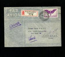 Switzerland 1939 Airmail to China via Hong Kong