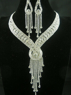 Fashion Necklace Earrings Set Crystal Rhinestone Wedding Bridal Party Jewelry