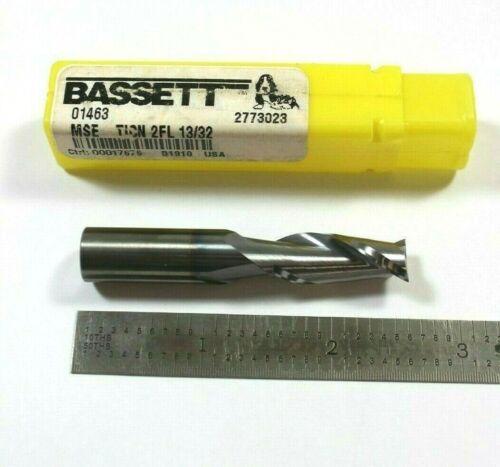 Brand New Bassett #01463 TICN 2FL 13//32 Carbide End Mill