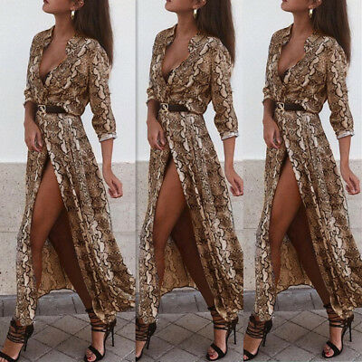 UK Womens Leopard Snake Print Maxi Dress Ladies Sexy Everning Party Wrap Dress
