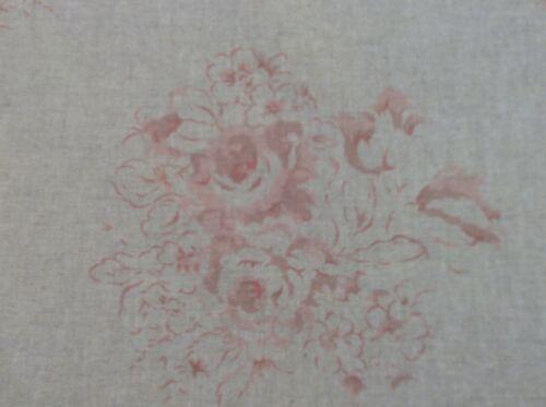 "Vintage Lino se desvaneció cameo Rose Rosa//Rojo 140cm//54/"" Cortina//Tela Artesanal"