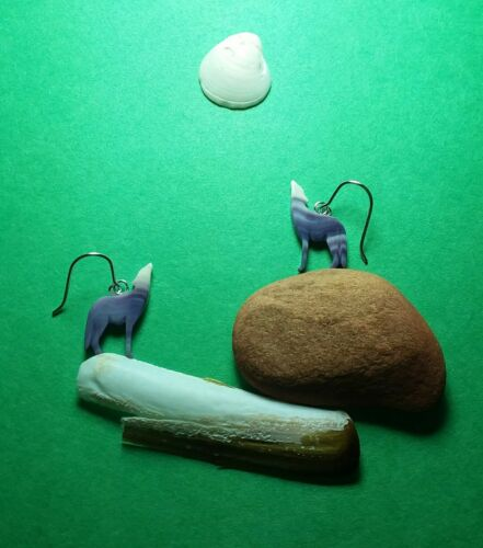 1 Pair Wampum Wolf Moon earrings jewelry*promo photo