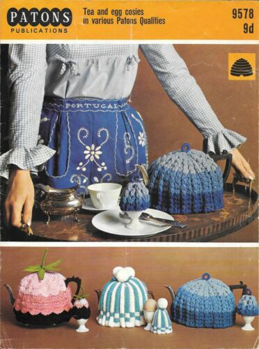 Crochet Pattern DK yarns Patons 9578 Vintage Tea and Egg Cosy Knitting