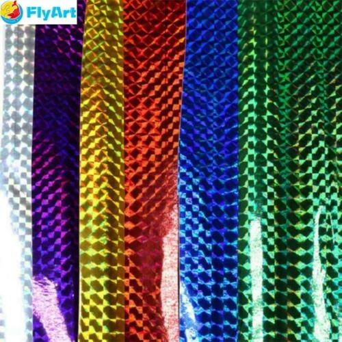 6 Sheets//Set 10*20cm Holographic Adhesive Film Flash Tape Fly Tying Materail