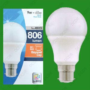 10x 9W (=60W) Pearl LED A60 GLS Globe Bayonet Cap BC B22 Light Bulb Lamp, 806lm