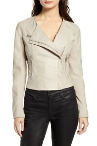Blank-NYC-NWT-Tan-Faux-Leather-Moto-Jacket-Zip-Pockets-Lined-Size-Large
