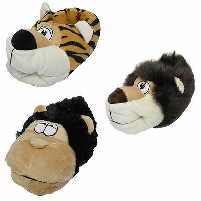 Girl Boy Women Child Kids Size CUTE ANIMAL SLIPPERS Lion Monkey Tiger Novelty