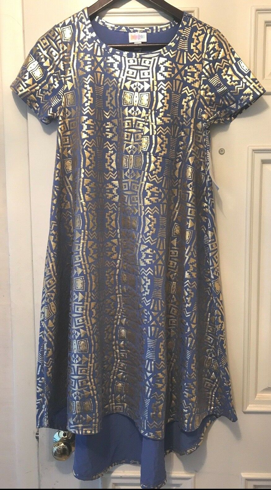 ❤️LuLaRoe Elegant CARLY Dress Blau with Gold Foil  XS  NWT  X-Small ELEGANCE❤️
