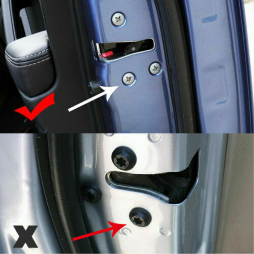 12x Universal Car Interior Door Lock Screw Protector Cover Cap Trim Black