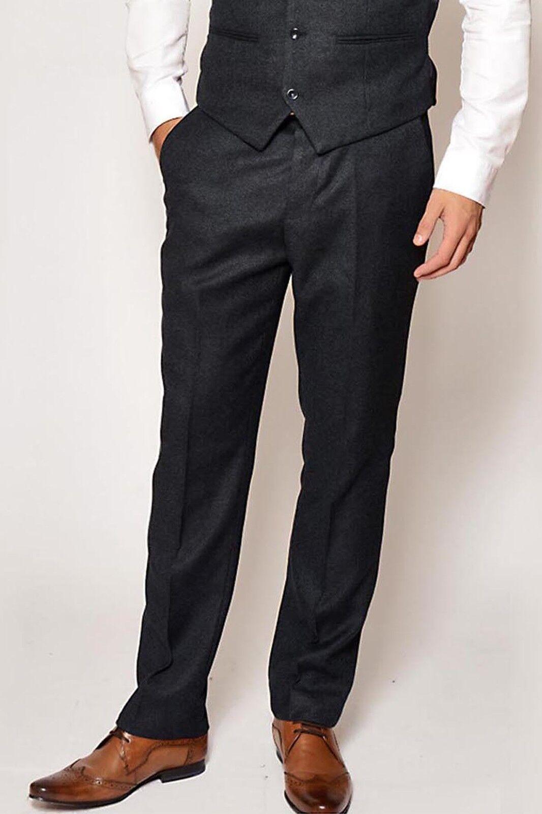 Mens Tweed Trouser Marc Darcy Tailored Slim Fit Vintage Style Wool Look Pants