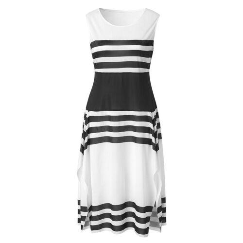 Damen Ärmellos Gestreift Midikleid Sommerkleid Partykleid Abendkleid Lang Kleid
