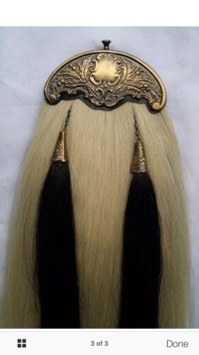 Scottish Kilt Sporran White Horse Hair Antique Cantle//Bagpipe Piper Kilt Sporran