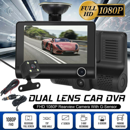 Car DVR 4/'/' HD 1080P 3 Lens Dash Cam Vehicle Video Recorder Rearview Camera 170