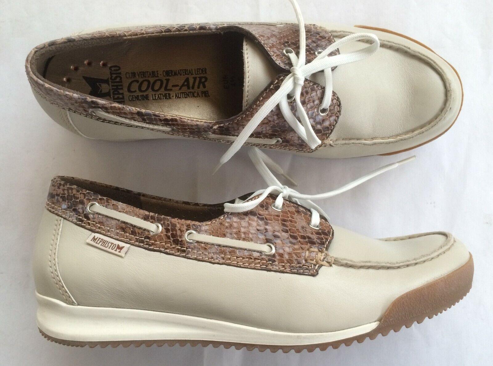 Chaussures bateau MEPHISTO neuves beige et marron 37,5