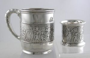 Sterling-Tiffany-MAKERS-Ca-1891-034-Marching-Band-034-baby-cup-amp-napkin-ring-set