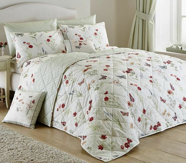 COUNTRY BUTTERFLY FLORAL Grün REVERSIBLE 230X200CM BEDSPREAD  EUQINATOB CUR