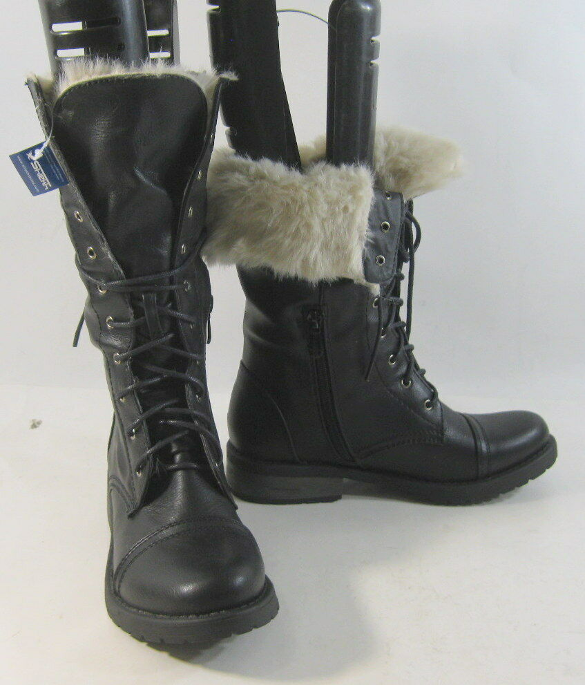 Black 1.5 Low Block Heel Combat Lace Up Winter Mid-Calf Sexy Boots Size 7.5