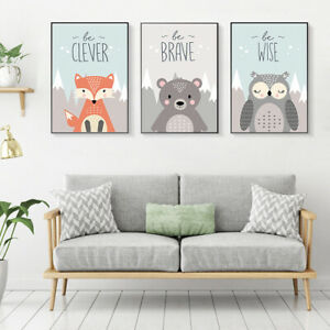 Fox Owl Deer Animal Poster Baby Room Art Canvas Paint Hanging Wall Nursery Decor | EBay