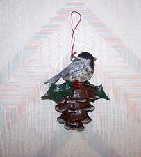 Bird Pine Cone Chickadee Christmas String Ornament Metal Regal Art