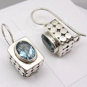 925-Solid-Silver-Fabulous-BLUE-TOPAZ-Gem-HANDCRAFTED-Box-Dangle-Earrings-0-8-034