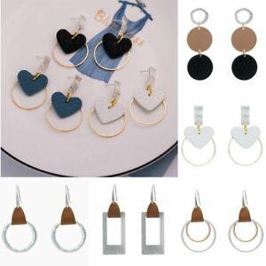 Fashion-Women-Geometric-Heart-Leather-Hook-Drop-Dangle-Earrings-Jewelry-Party