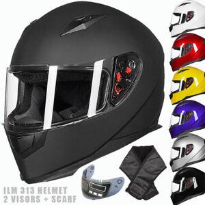 999c7139 ILM Full Face Motorcycle Helmet with 2 Visors+Neck Scarf DOT ...